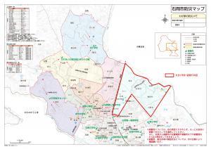 画像:防災マップ(杉並小学校へ避難する地区)