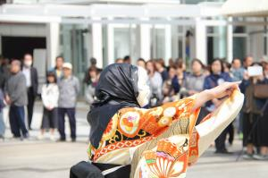 『20160330石岡駅式典(金丸町おかめ)』の画像