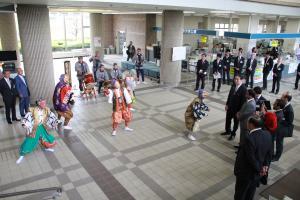 『石岡囃子連合保存会の皆さまによる歓迎』の画像