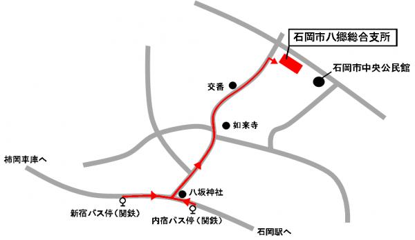 『『バス停から八郷総合支所へのルート』の画像』の画像