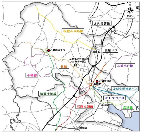 『石岡市内バス路線図』の画像