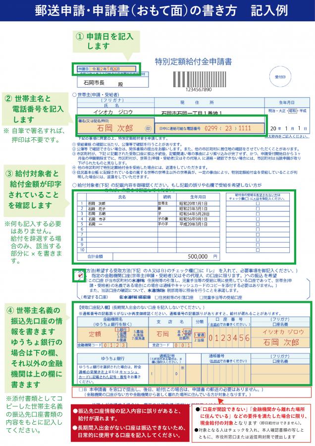 『特別定額給付金_申請書書き方表』の画像