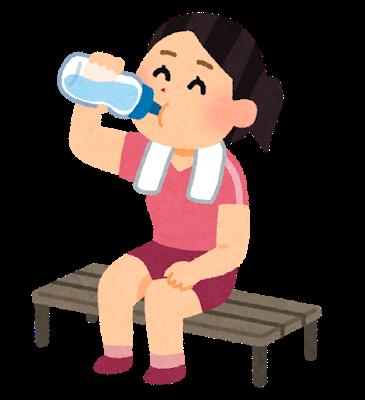『水分補給のイラスト(女性)』の画像