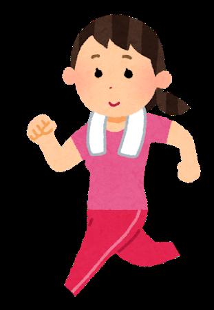 『ジョギングをする女性のイラスト』の画像