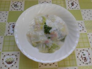 『白菜とホタテ缶のミルク煮』の画像